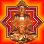 Gold Buddha with Mandala — Stock Photo