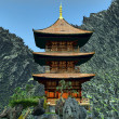Stock Photo: Zen buddhist temple in the mountains