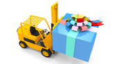 Forklift with gift box — Stock Photo