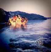 Volcanic eruption on island — Stock Photo