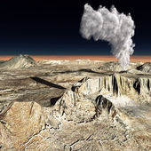 Volcanic eruption on the huge fault — Stock Photo