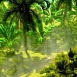 Morning fog in dense tropical rainforest — Stock Photo