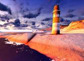 Nádherný maják u moře při západu slunce — Stock fotografie