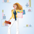 Shopping girl — Stock Vector #10477276