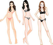 Bikini Girls — Stock Vector