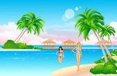 Beach girls — Stock Vector