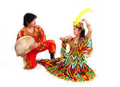 Traditional musician and dancer — Stock Photo
