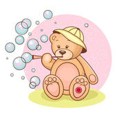 Teddy Baby and bubbles — Stock Vector