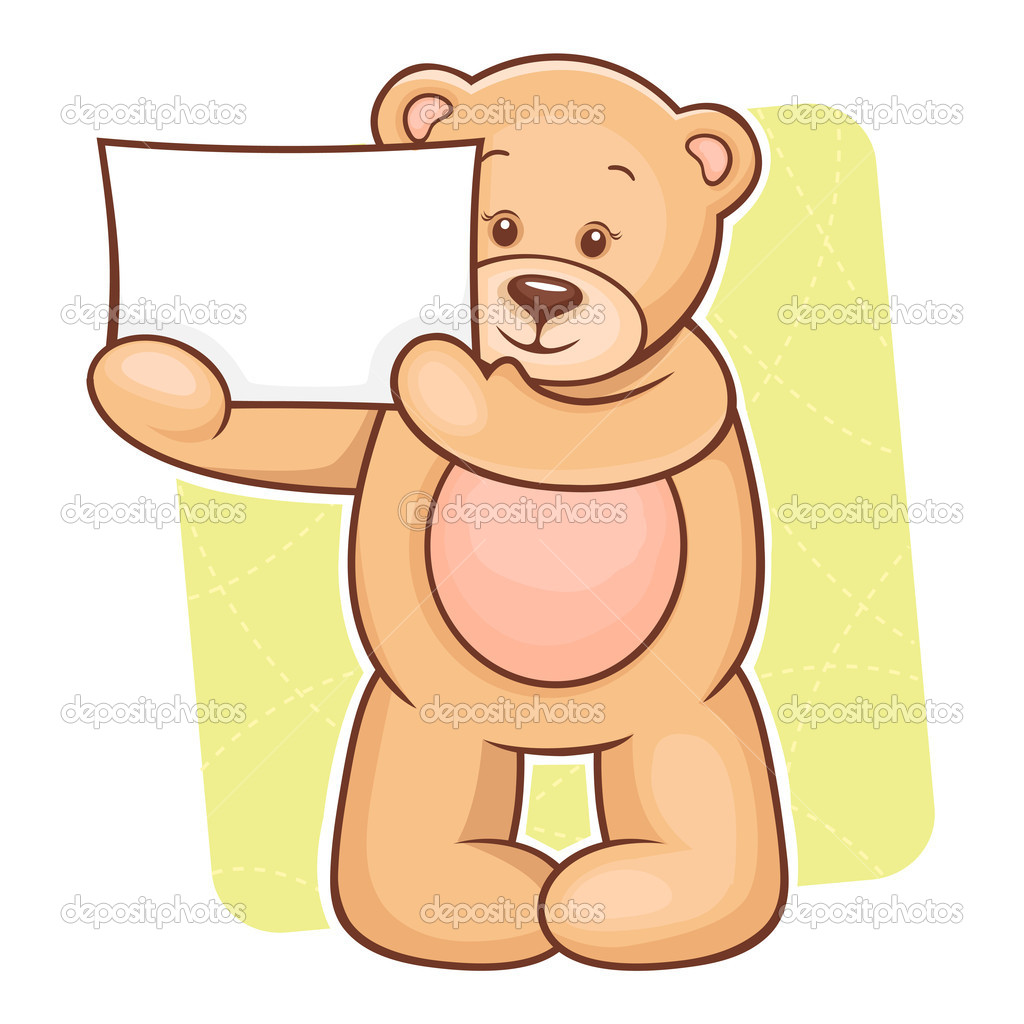 Illustration of cute Teddy Bear with sign for your text. — Stock Vector #10063260