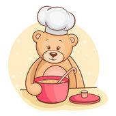 Teddy bear chef-kok — Stockvector