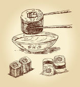 Hand drawn sushi — Stock Vector