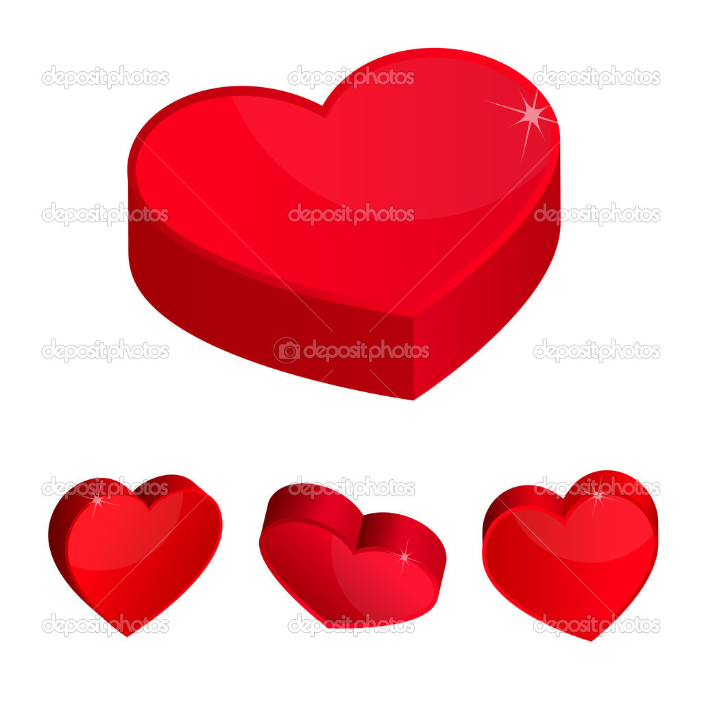 Red hearts 3d simple icons. Vector illustration eps 10.  Stock Vector #8614312