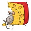 Mouse with cheese - Stock Vector