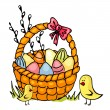 Easter basket and chickens — Stock Vector