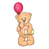 Teddy with balloon and message — Stock Vector