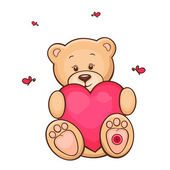 Teddy bear with red heart — Stock Vector