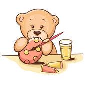 Teddy bear with easter egg — Stock Vector