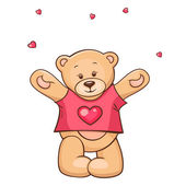 Teddy Bear in heart t-shirt — Stock Vector