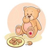 Teddy Beareating cookies — Stock Vector