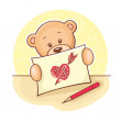 Teddy Bear with drawing heart — Stock Photo #9977383
