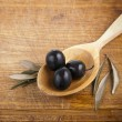 Olives on spoon — Stock Photo #10171834