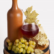 Bottle of red wine and glass — Stock Photo #10176934
