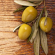 Branch with green olives — Stock Photo #10233071