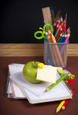 Back to school - speech bubble with pencil icon — Stock Photo