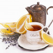 Cup tea and lemon — Stock Photo