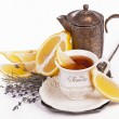 Stock Photo: Cup tea and lemon
