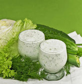 Cucumber and salad leaves — Foto de Stock