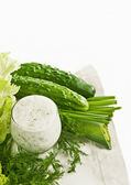 Kefir cucumber and salad leaves — Stock fotografie