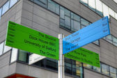 Direction signs at MediaCityUK, the new home for the BBC — Stock Photo