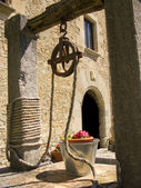 Old well with decoration flowers in the bucket, with a classis house behind — Stock Photo