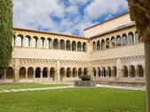 Gothic abbey monastery and cloister from garden perspective, in — Stock Photo