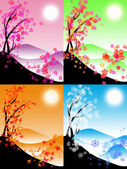 Four seasons illustration — Foto Stock
