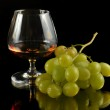 Glass of brandy and grapes — Stock Photo #10052279