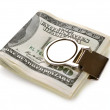 Stock Photo: Bundle of 100 dollars bank notes fasten with money clip