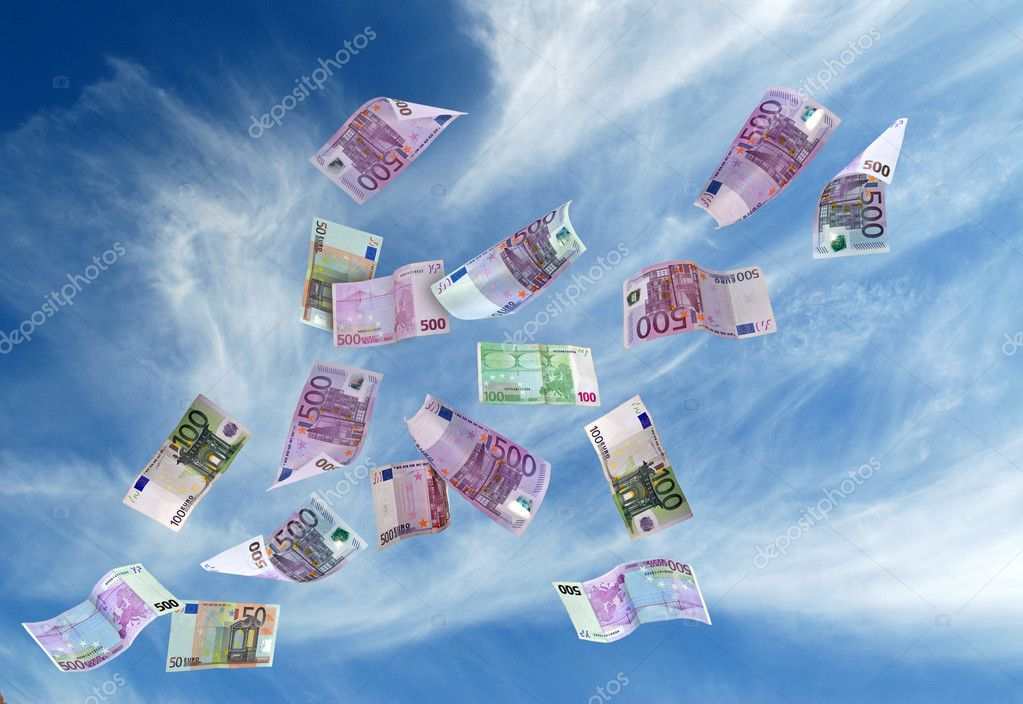 European currency shot as if flying away  Stock Photo #9235279