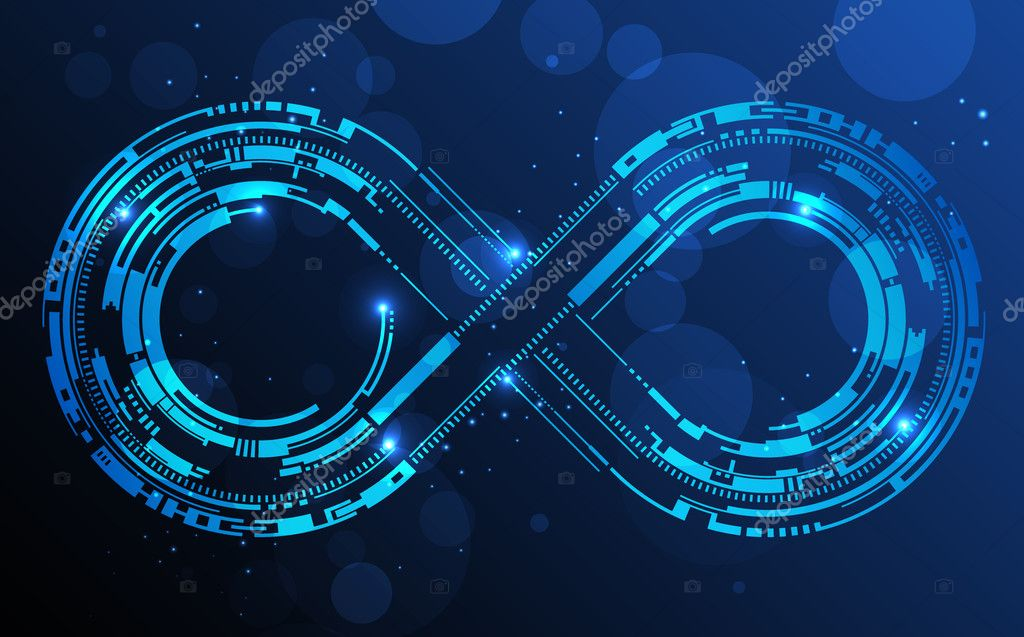 Technology Management Image: Infinity Sign. Abstract Technology Circles Lines