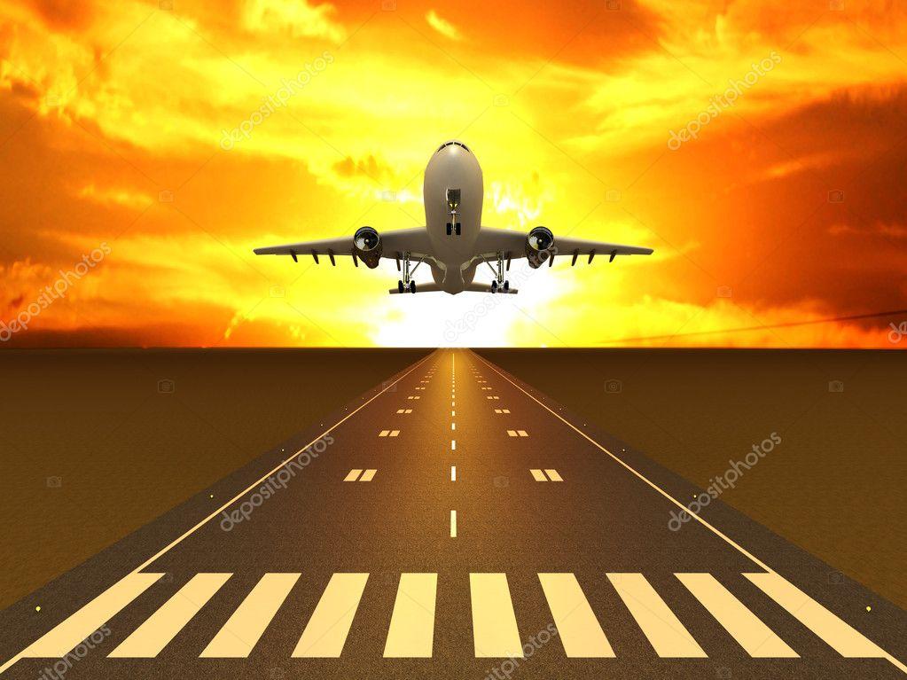 在日落时在跑道上的飞机 — 照片作者 mariam1992