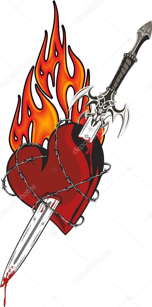 A sword in the heart surrounded by barbed wire with flames in the background — Stock Vector #10047915