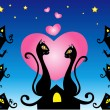 In love cats — Stockvectorbeeld