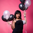 Stock Photo: Attractive young girl with birthday balloons