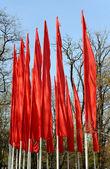 červené vlajky — Stock fotografie
