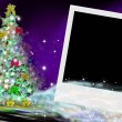 Fir Christmas card and picture frame — Stock Photo