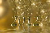 2012 gold christmas background — Stock Photo