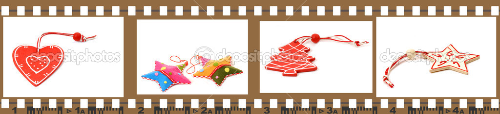 Slide film with pictures of Christmas decorations isolated on white background — Stock Photo #8054552
