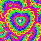 Colorful hearts and flowers background — Photo