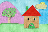 Children's drawing funny happy home — Stock Photo
